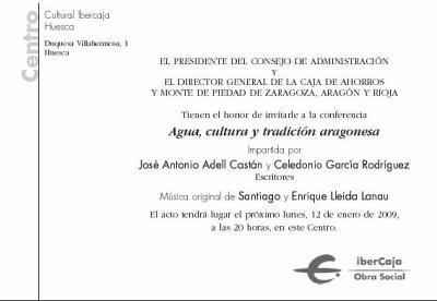 Invitación para asistir a la charla con música y proyección: Agua, cultura y tradición aragonesa