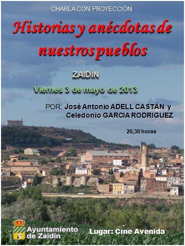 Charla sobre historias y anécdotas de nuestros pueblos en las Jornadas Culturales de Zaidín